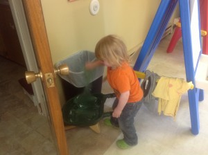 Helping at clean up time
